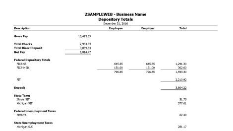Depository totals sample